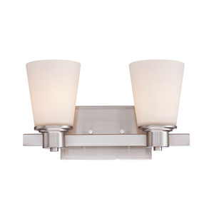 Fontaine Nickel and Pewter Two-Light Bath Bar