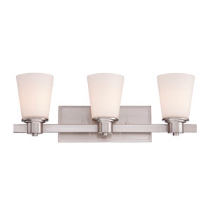 Fontaine Nickel and Pewter Three-Light Bath Bar