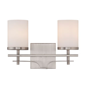 Colton Nickel and Pewter Two-Light Bath Bar