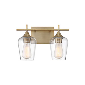 Octav Warm Brass 14-Inch Two-Light Bath Vanity