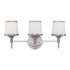 Hagen Satin Nickel Three-Light Bath Fixture
