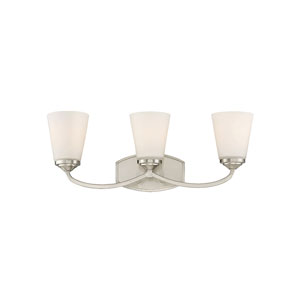 Jorda Satin Nickel 23-Inch Three-Light Bath Vanity