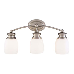 Satin Nickel Three-Light Bath Fixture