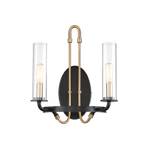 Kearn Vintage Black 12-Inch Two-Light Wall Sconce