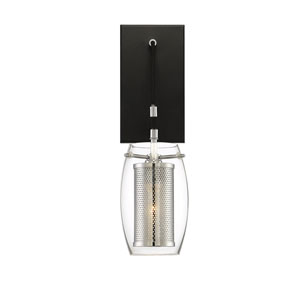 Dunbar Matte Black with Polished Chrome Accents One-Light Wall Sconce
