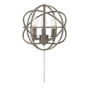 North Aged Wood Three-Light Fan Light Kit