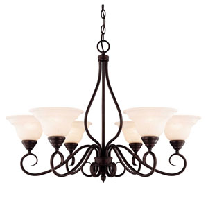 Oxford English Bronze Six-Light Chandelier