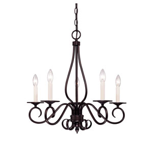 Oxford English Bronze Five-Light Chandelier