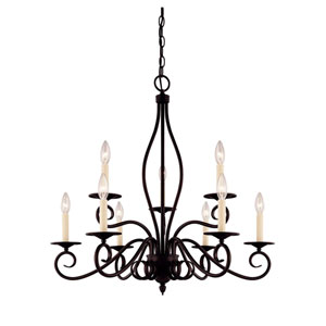 Oxford English Bronze Nine-Light Chandelier