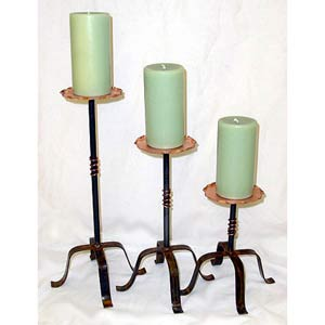 Set of Three Copper Top Candle Stands
