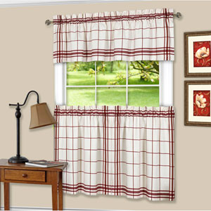 Bainbridge Burgundy Curtain Tier Pair and Valance Set