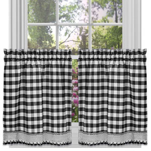 Buffalo Check Black 58 x 24-Inch Window Tier Pair
