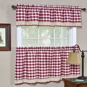 Buffalo Check Burgundy 58 x 36-Inch Window Tier Pair