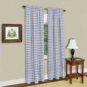 Buffalo Check Gray 58 x 36-Inch Window Tier Pair