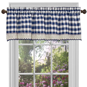 Buffalo Check Navy 58 x 14-Inch Window Curtain Valance