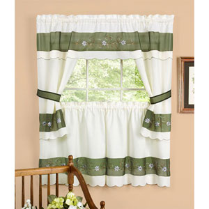 Berkshire Green Embellished Cottage Window Curtain Set