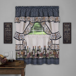 Chateau Cottage Navy 57 x 36-Inch Window Curtain Set