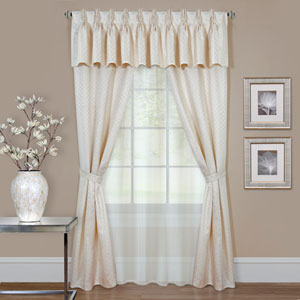 Claire Ivory 63 x 55 In., Six-Piece Window Curtain Set