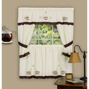 Cuppa Joe Brown Embellished Cottage Window Curtain Set