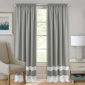 Darcy Gray and White 63 x 52 In. Window Curtain Panel