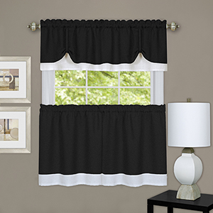 Darcy Black and White 58 x 36 In. Window Curtain Tier and Valance Set