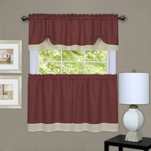 Darcy Marsala and Tan Window Tier and Valance Set
