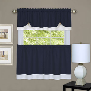 Darcy Navy and White Window Tier and Valance Set