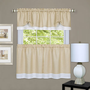 Darcy Tan and White Window Tier and Valance Set