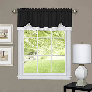 Darcy Black and White 58 x 14 In. Window Valance
