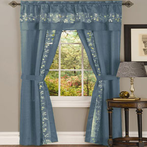Fairfield Ice Blue 63 x 55 In. Five-Piece Window Curtain Set
