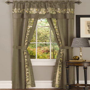 Fairfield Taupe 63 x 55 In. Five-Piece Window Curtain Set
