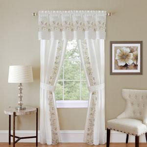 Fairfield White 63 x 55 In. Five-Piece Window Curtain Set