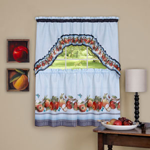 Golden Delicious Ice Blue 57 x 36-Inch Printed Tier and Swag Window Set