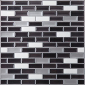 Magic Gel Silver and Black 9.12 x 9.12 In. Self Adhesive Vinyl Wall Tile, Set of Six