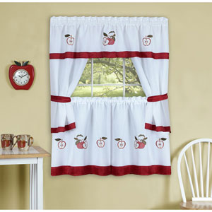 Gala Red Embellished Cottage Window Curtain Set