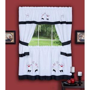 Gourmet Black Embellished Cottage Window Curtain Set