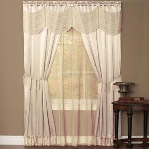 Halley Ivory 63 x 56 In. Six-Piece Window Curtain Set