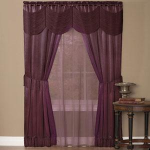 Halley Merlot 63 x 56 In. Six-Piece Window Curtain Set