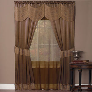Halley Taupe 63 x 56 In. Six-Piece Window Curtain Set