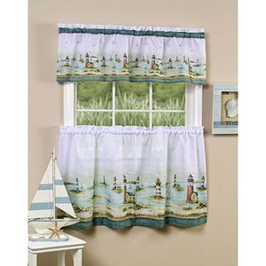 Hamptons Sand Tier and Valance Set