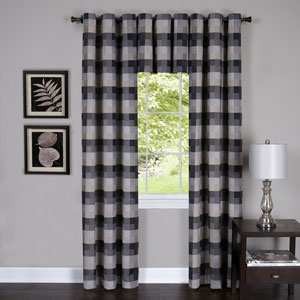 Harvard Black 84 x 42 In. Window Curtain Panel