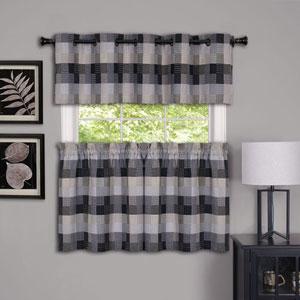 Harvard Black 57 x 24-Inch Window Curtain Tier Pair
