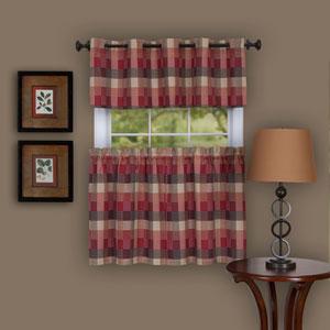 Harvard Burgundy 57 x 24-Inch Window Curtain Tier Pair