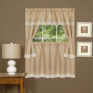 Harwood Camel Embellished Cottage Window Curtain Set