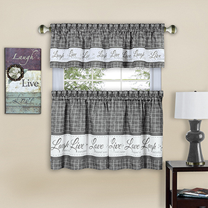 Live, Love, Laugh Grey 58 x 36 In. Window Curtain Tier Pair and Valance Set