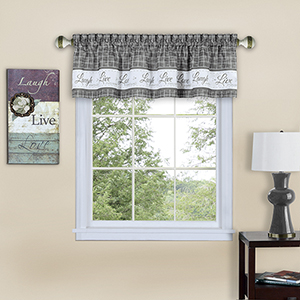 Live, Love, Laugh Grey 58 x 14 In. Window Valance