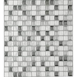 Magic Gel Silver Glass 9.12 x 9.12 In. Self Adhesive Vinyl Wall Tile