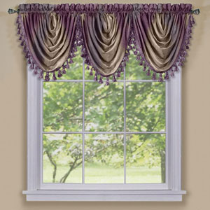 Ombre Aubergine Waterfall Valance