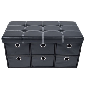 Collapsible Six-Drawer Black Faux Leather Storage Ottoman