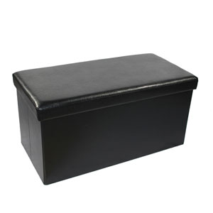 Collapsible Black Faux Leather Storage Ottoman